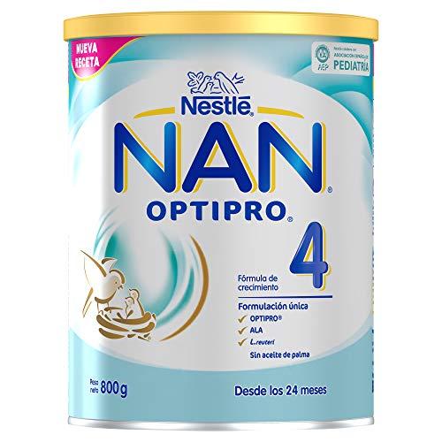 NAN OPTIPRO 4 - Preparado lácteo infantil, fórmula de crecimiento en polvo, a partir de los 24 meses, 800g
