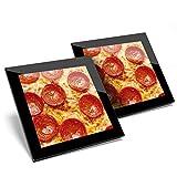 Impresionante juego de 2 posavasos de cristal – Tasty Pepperoni Pizza Junk Food Cool Glossy calidad posavasos/protección de mesa para cualquier tipo de mesa #8440