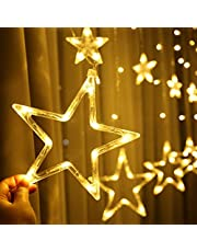 Home Decoration LED Star Lights, Curtain String Lights for Bedroom,8 Lighting Modes,Waterproof Fairy Lights for Bedroom, Wedding,Party,Christmas,Ramadan Decoration-Warm White -12 Stars 138LED DARKO GT