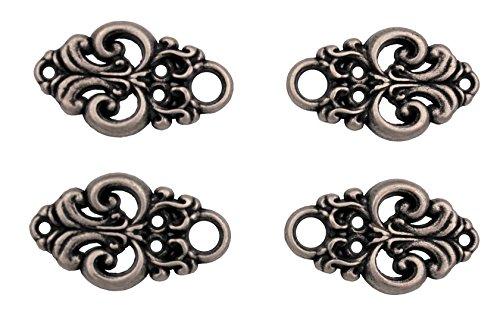 Hartmann-Knöpfe 4 Stück (2 Paar) hübsche Miederhaken Miederösen für Dirndl Mieder Coursage Silber antik aus Metall, zum Annähen 25mmx15mm