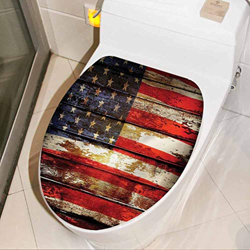 Decoration Sticker American Flag, Vintage Wooden Washroom Room WC Toilet Seat Stickers 3D Art Home Decor 17 x 21 Inch