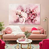 KWzEQ La Pintura al óleo Floral de la Acuarela Abstracta Moderna adornó Las peonías Rosadas para la Sala de Estar,Pintura sin Marco,45x67cm