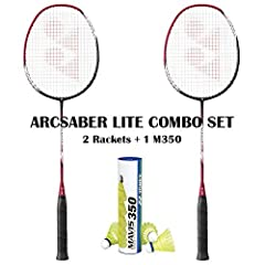 Contains 2 Arcsaber Lite Rackets with 1 Mavis 350 Yellow Medium Speed Shuttlecock Original US Version Racket Arcsaber Lite Color: Navy Blue