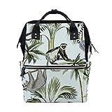 Alinlo Wickeltasche mit Affenpalme, Wildtier-Motiv, große Kapazität, Multifunktions-Rucksack für Reisen