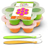 MOJE MAMA Baby Food Freezer Tray Set - Reusable Silicone Storage Containers with Lids & Spoons - Frozen Food Holder for Snacks, Breast Milk, Puree - Feeding Cups for Infants - 2.6 oz, Green & Orange