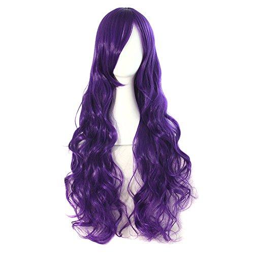 MapofBeauty 32' 80cm Dark Purple Long Hair Curly Wavy Wig Cosplay Costume Wig