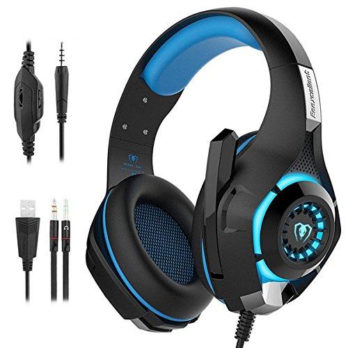 ゲーミング ヘッドセット ヘッドホンPC用 3.5mm 最高音質 マイク付き PS4 Nintendo Switch Xbox One (ブルー)