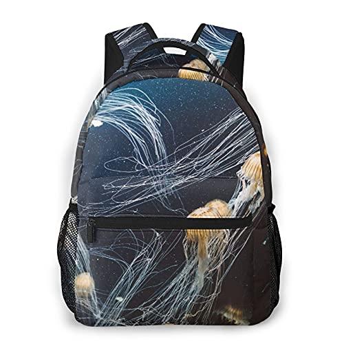 Kanxdecor Lässiger Rucksack,Quallen im Tiefsee-Aquarium Leben von Meerest,Travel Bookbag With Zipper,For Business, School, Work, Laptop Bookbag 16