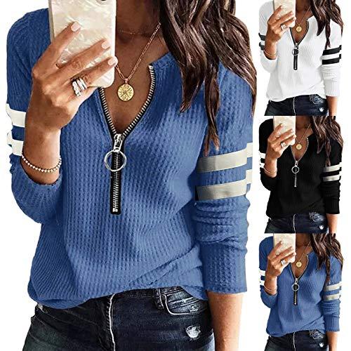 BIKETAFUWY Camiseta de manga larga para mujer, elegante, camiseta de manga larga para mujer, básica,...