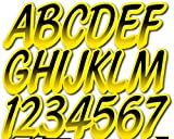 STIFFIE Whipline Black/Pineapple Yellow Super Sticky 3' Alpha Numeric Registration Identification Numbers Stickers Decals for Sea-Doo Spark, Inflatable Boats, Ribs, Hypalon/PVC, PWC and Boats.