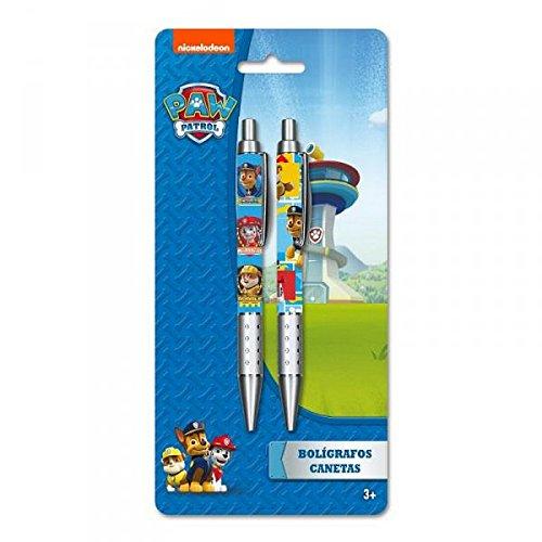 PAT PATROUILLE, lot 2 stylos à bille + 12 crayons de couleur + 2 taille crayons