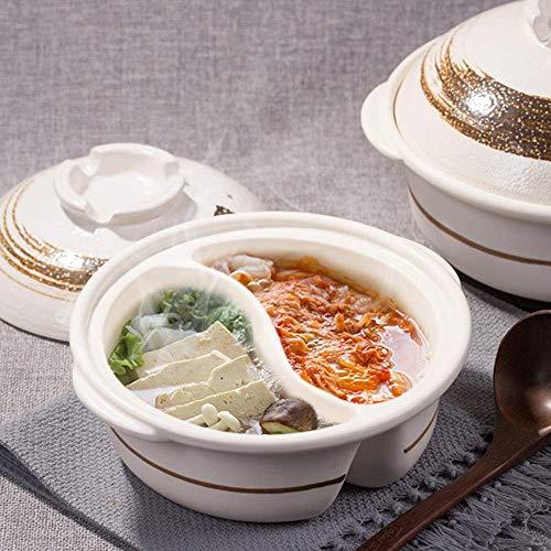 Pot Chaud Yuanyang Double saveur, Pot Chaud Shabu Shabu, Pot Chaud Yin Yang Double Face avec séparateur, Casserole céramique résistante la Chaleur, Pot Chaud Argile B 2,8l