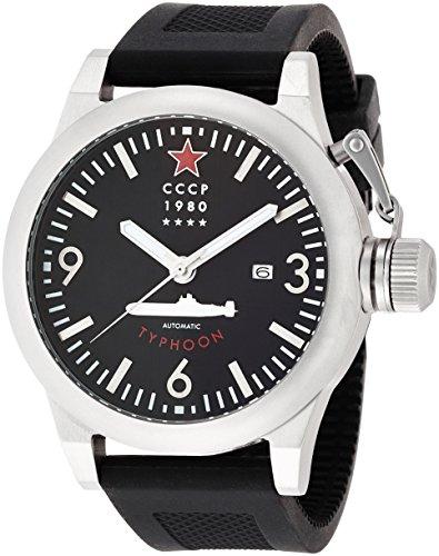 CCCP CP-7018-01 - Reloj de pulsera analógico para hombre, esfera negra, correa de silicona negra, con fecha
