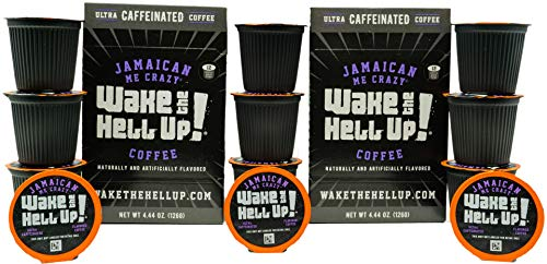 Wake The Hell Up! Jamaican Me Crazy Flavored Single Serve Capsules Ultra-Caffeinated Coffee For K-Cup Compatible Brewers | 24 Count, 2.0 Compatible Pods | Perfect Balance of Caffeine & Great Flavor.