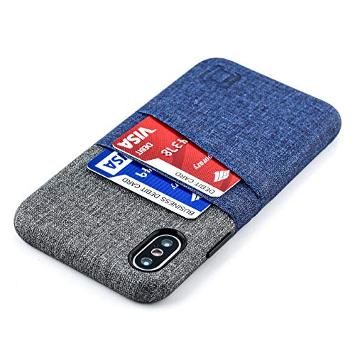 Dockem iPhone X/XS Wallet Case: Built-in Metal Plate for Magnetic Mounting & 2 Credit Card Holder Slots (5.8' Luxe M2 Synthetic Leather, Blue & Grey)