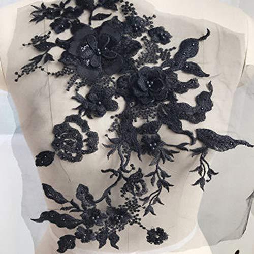 Gemini_mall Spitzenapplikation mit Blumen-Applikation, bestickter Aufnäher, Perlenkragen, für Brust, Kleid, Kleidung, Jeans, Handwerk, Dekoration, Schwarz