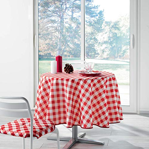 Douceur d 'Intérieur Vichy-Mantel Redondo, poliéster, Rojo, 180x 180cm