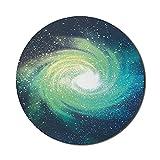Galaxy Mouse Pad für Computer, Weltraum Thema Bild Spirale Galaxy Stardust Astromony Cosmos Milchstraße Sterne Druck, Runde rutschfeste dicke Gummi Modern Gaming Mousepad, 8 'rund, Navy Teal