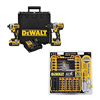DEWALT DCK299P2 20V Max XR Lithium Ion Brushless Premium Hammer Drill and Impact Driver Combo Kit, 5.0 Ah with 30-Piece Flex Torq Set (DWA2T30C) (B07QYXCPDC) | Amazon price tracker / tracking, Amazon price history charts, Amazon price watches, Amazon price drop alerts