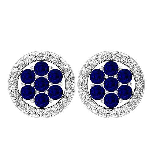 Pendientes de tuerca, 1/3 quilates, piedra preciosa redonda, diamante HI-SI 1,50 mm, zafiro azul, pendientes de racimo, pendientes florales de oro 10K Oro amarillo, Par