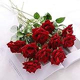 JUSTOYOU 12 Pcs Fleurs Artificielles Roses Fleurs De Velours Faux Longue Tige Roses Artificielles Bouquet De Fleurs pour Décorations De Mariage (Rouge)