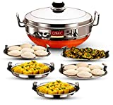 QSEC Stainless Steel Idli Cooker Multi Kadai Steamer with Copper Bottom All-in-One Big Size 5 Plate 2 Idli | 2 Dhokla | 1 Patra | Momo's | 3 in 1 | 28.5 cm Dia.