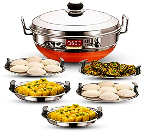 QSEC Stainless Steel Idli Cooker Multi Kadai Steamer with Copper Bottom All-in-One Big Size 5 Plate 2 Idli   2 Dhokla   1 Patra   Momo's   3 in 1   28.5 cm Dia.