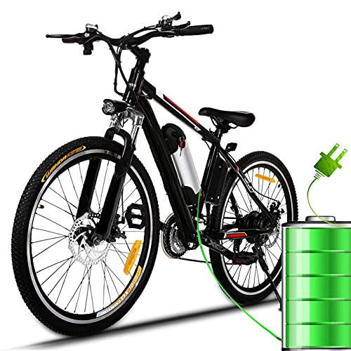 26' Electric Bike for Adult Electric Mountain Bike E-Bike, 250W Powerful Motor Electric Bicycle 25Km/H with Removable 8AH Lithium-Ion Battery Professional 21 Speed Gears(Black-red)