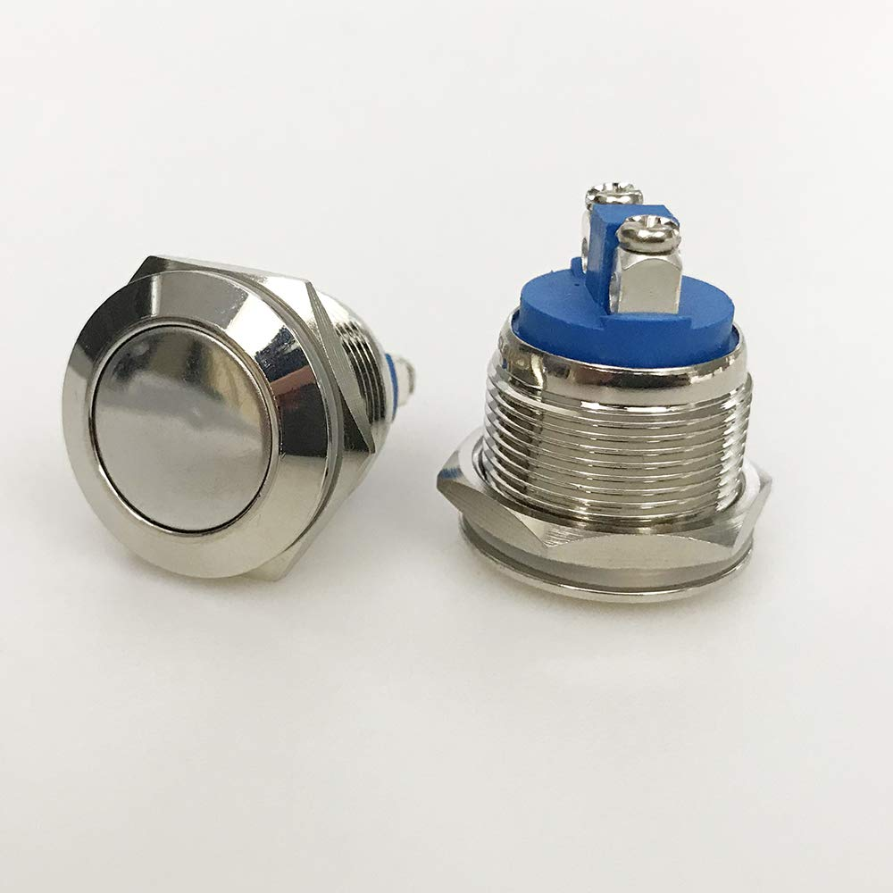 19mm Momentary Metal Push Button Switch Round 6A Head Super sale Flat Excellence Flush