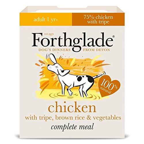 forthglade Hundefutter komplett Erwachsene Huhn mit Kutteln und brauner Reis und Gemüse 18x 395g (4Stück)
