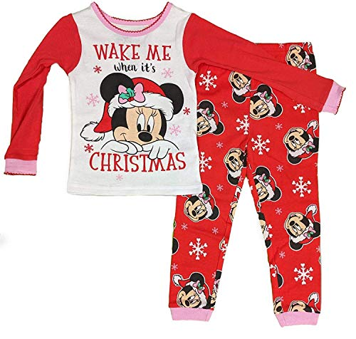 Disney Little Girls Minnie Mouse Toddler 2 Piece Pajama Set (4T) Red