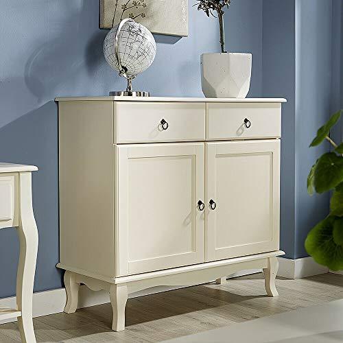 GXK Cream Sideboard 2 Drawer 2 Door Storage Cabinet Sculpted Legs