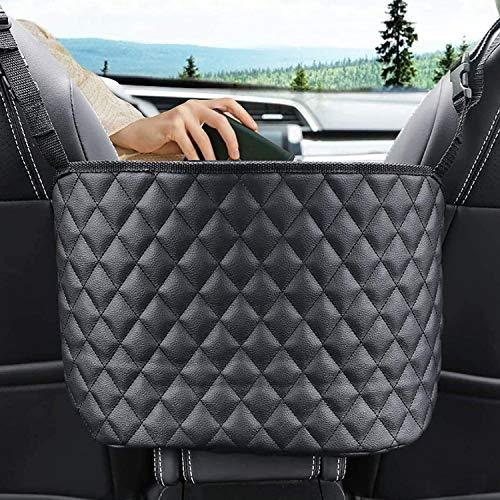 rumexeng Car Net Pocket Handbag Holder Between Seats, Barrier of Backseat Pet and Kids, Driver Storage Netting Pouch, Leather Organizer, Cargo Mesh Tissue Purse Holder Pocket (Black)