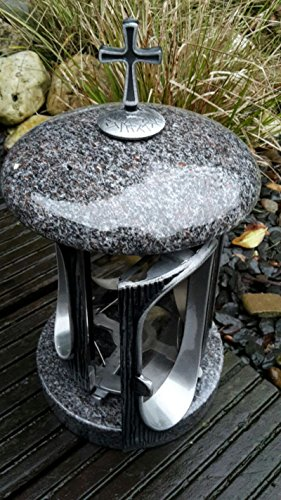 Stone & More Grave Lantaarn Graniet/Cast Metaal Graniet Paradiso Cross Kerkhof Licht Graf Licht Zilver
