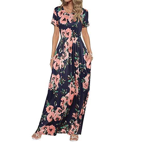 HOOYON Women's Casual Floral Printed Long Maxi Dress with Pockets(S-5XL),Royal Blue Short,Medium