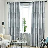 ZYY-Home curtain 2 Paneles Cortinas Opacas Hojas Impresión Cortinas Blackout con Ojales Gruesa Cortinas para Salón Habitación y Dormitorio,Gris,W200xL250cm