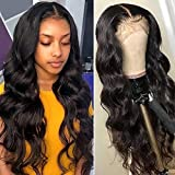 Brazilian Body Wave Human Hair Lace Frontal Wigs with Baby Hair Pre Plucked and Can Be Bleached Knots Natural Hairline Body Wave Wigs Glueless Lace Frontal Wig Human Hair Ear to Ear Natural Wave Wigs