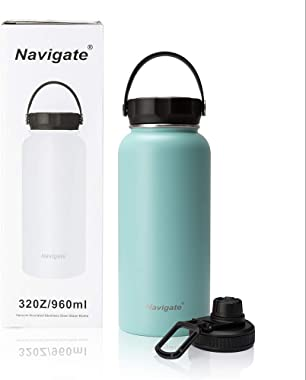 NAVIGATE 32oz Wide Mouth Stainless Steel Water Bottle With Bonus Lid, Double Walled Vacuum Insulated Travel Sports Flask Ther