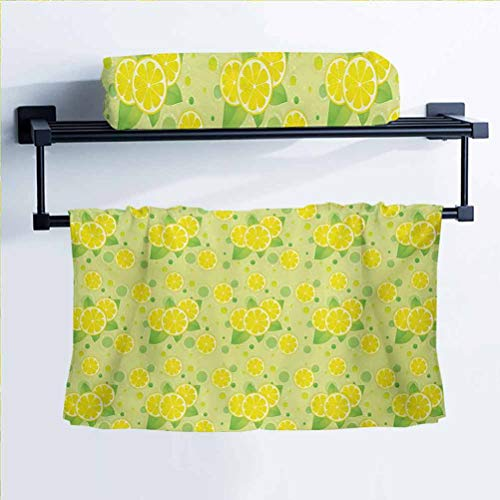 Vintage Women's Bath Towel 100% Polyester Towels Lemon Lime Pattern in Retro Vintage Style Citrus Fruit Circles Natural Image Yellow Green 14' W x 28' L