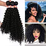 3 Bunldes Natural Black Afro Kinky Curly Weave Bundles for Wedding Party Cosplay High Tmeperature Synthetic Hair Extensions(16' 18' 20' 2#)