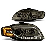 Replacement for Audi A4 S4 B7 4-Dr 05-08 Pair of Smoked Lens LED DRL & Corner Light Projector Headlight Lamps