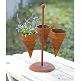 CTW 580035 Triple Ice Cream Cone Planter, 17-inch Height, Brown, Metal