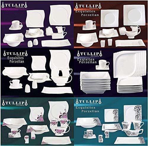 MODERNES Geschirr Set | 43 TLG Geschirr Tafelservice Kaffeeservice Kombiservice Porzellan 6 Personen (43-TLG Chardon Blume Lila)