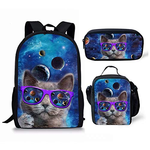 FOR U DESIGNS Universe Planet Cat Printed School Backpack for Boys Girls Teens Bookbag Lightweight Lunch Box Set with Pencil Case
