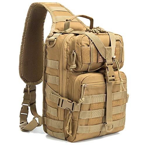 SHELCUP EDC Sling Bag Pack, Rover Shoulder Molle Backpack, with USA Flag Patch, Volume 20L Coyote