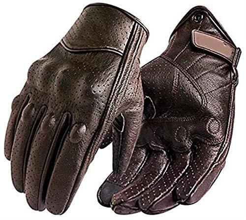 Nuevos guantes de motocicleta for hombre pantalla táctil de cuero guantes de bicicleta eléctrica for montar dedo completo motocicleta motocicleta motocicleta - marrón perforado, xl ( Color : Brown )