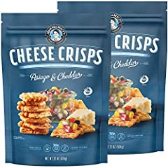 LOVE AT FIRST BITE — The unique taste and texture of John Macy's twice-baked, hand-crafted Asiago & Cheddar CheeseCrisps sets them apart from garlic bread breadsticks and other cheese snacks. Enjoy our bite-sized cracker thins alone or as delicious a...