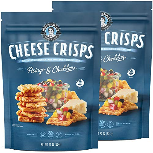 John Wm. Macy's CheeseCrisps | Asiago & Cheddar | Twice Baked Sourdough Crackers Made with 100% Real Aged Cheese, Non GMO, Nothing Artificial | 22 OZ. (2 Pack)
