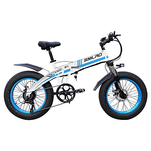 Xiaotian Fat Tire Electric Mountain Bike,20Inch Folding Hard Tail 7 Speeds Beach Cruiser Sports Hydraulic Disc Brakes Snow Bicycle with 48V 10AH Removable Lithium Battery for Adults,White/Blue,1000W