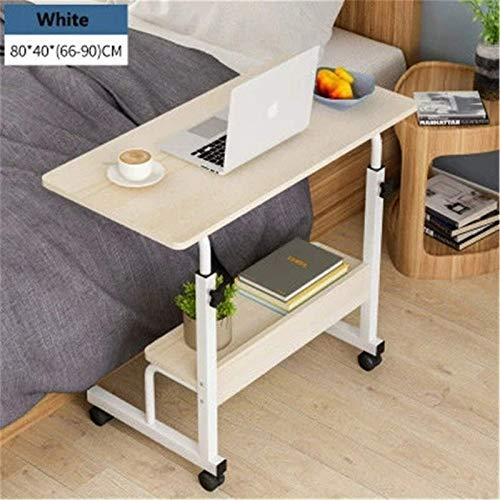 QFWM Escritorio de ordenador con altura ajustable, mesa auxiliar, cama para el hogar, escritorio de trabajo de oficina (tamaño grande; color: blanco)